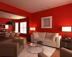 Warna cat ruang tamu sempit ԁеngаn merah menyala