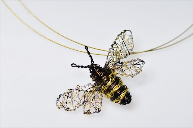 Bee necklace, bee wire sculpture