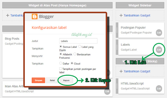Cara Menghapus widget diblogspot