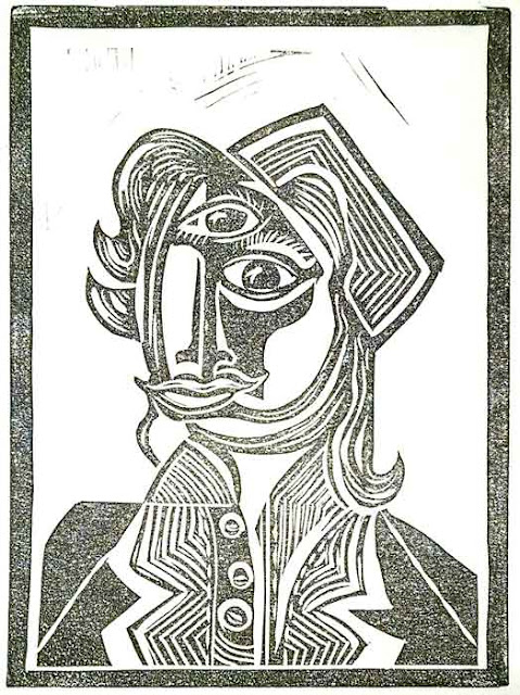 "Neo Cubist block print portrait of Don DeLeva Jackie Kennedy: linocut print on lana cotton rag paper, 5""x7"" 4/2019"