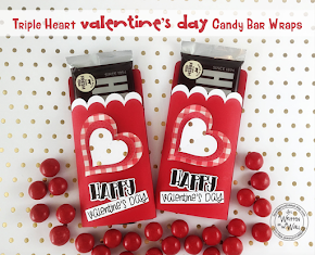 Triple Heart Valentine's Candy Bar Wrappers