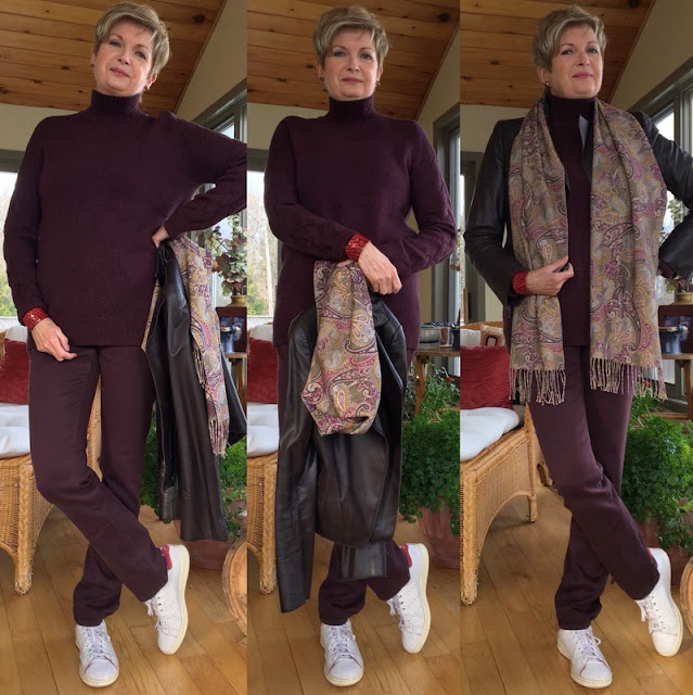 triple image of woman in burgundy sweater and pants with sneakers.