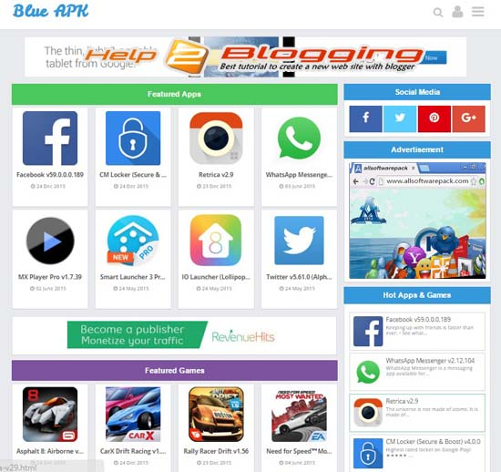 blue apk software style blogger template free download