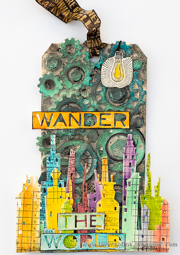 Layers of ink - Wander the World Tutorial by Anna-Karin with Tim Holtz Sizzix Cityscape.