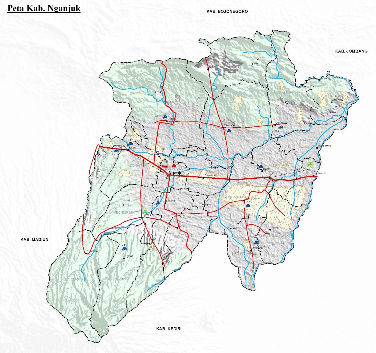 Peta Kabupaten Nganjuk HD