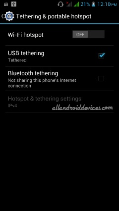 usb tethering in android