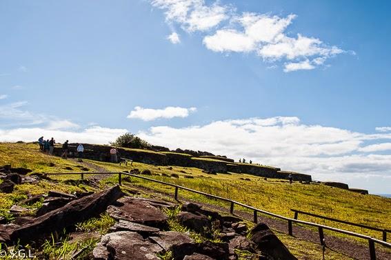 Vista de la aldea ceremonial de Orongo en la isla de Rapa Nui