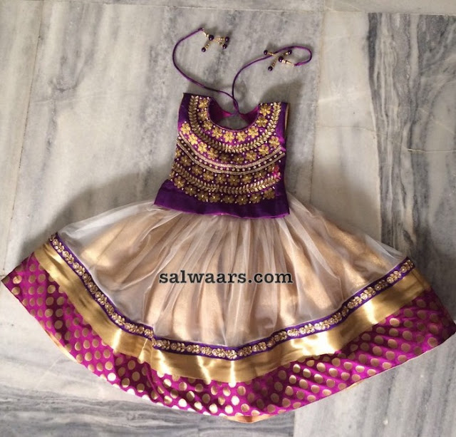 Beige Purple Kids Lehenga