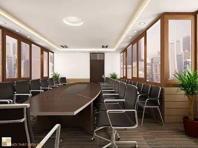 Mẫu thiết kế nội thất phòng họp không gian mở, tận dụng cả nguồn ánh sáng tự nhiên qua những thiết kế cửa kính trong suốt