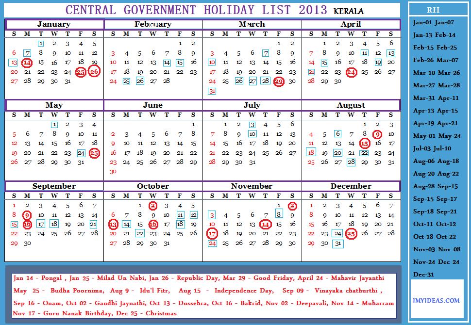 Calendar Government : Central government employees holiday calendar