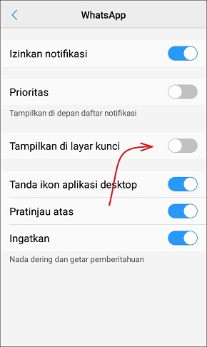 Cara Menyembunyikan Notifikasi WhatsApp di Lock Screen