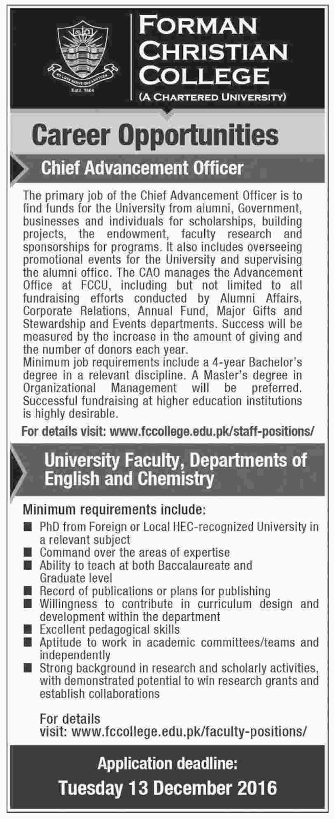 Jobs in FC College Lahore