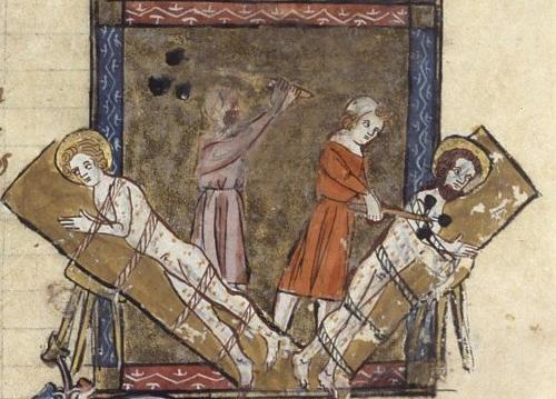 twin brothers Saint Gervasius and Saint Protasius are tortured in Medioalnum Milan before they are martyred