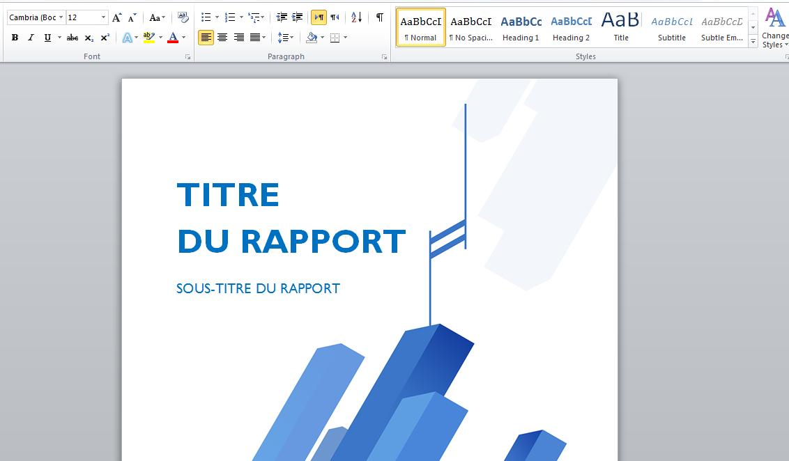 Docx Page De Garde Business Pour Rapport
