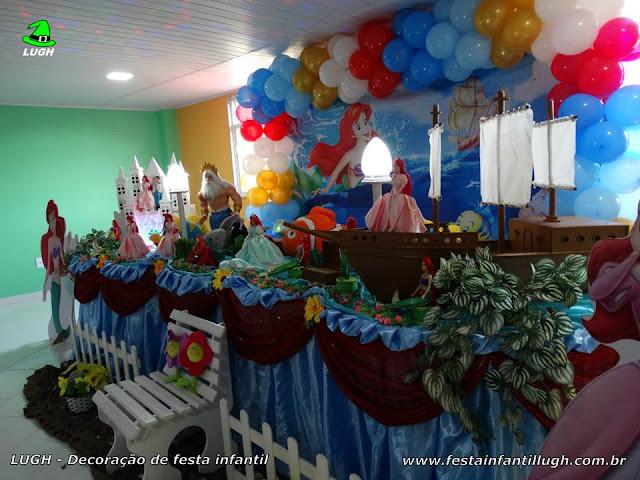 Decoração festa de aniversário A Pequena Sereia - Mesa temática infantil