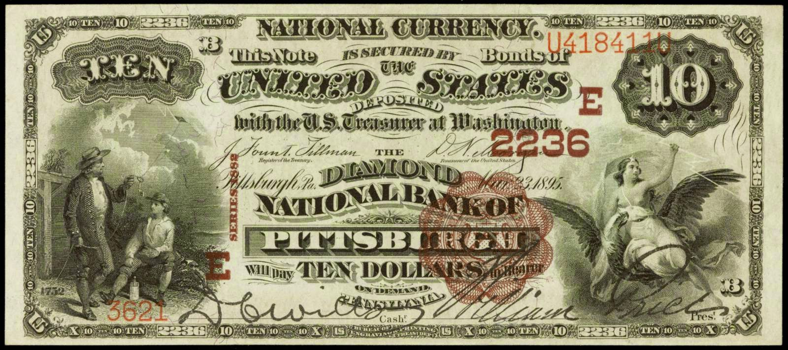 1882 10 Dollar Brown Back National Currency