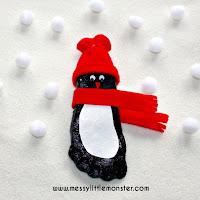 Salt dough penguin footprint - salt dough craft ideas for kids