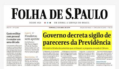 Primeira página da Folha com manchete sobre Previdência