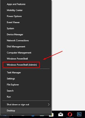 memilih menu Windows PowerShell Admin