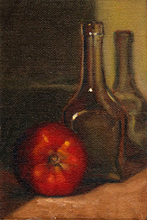 Oil painting of a red tomato beside a small clear glass bottle.