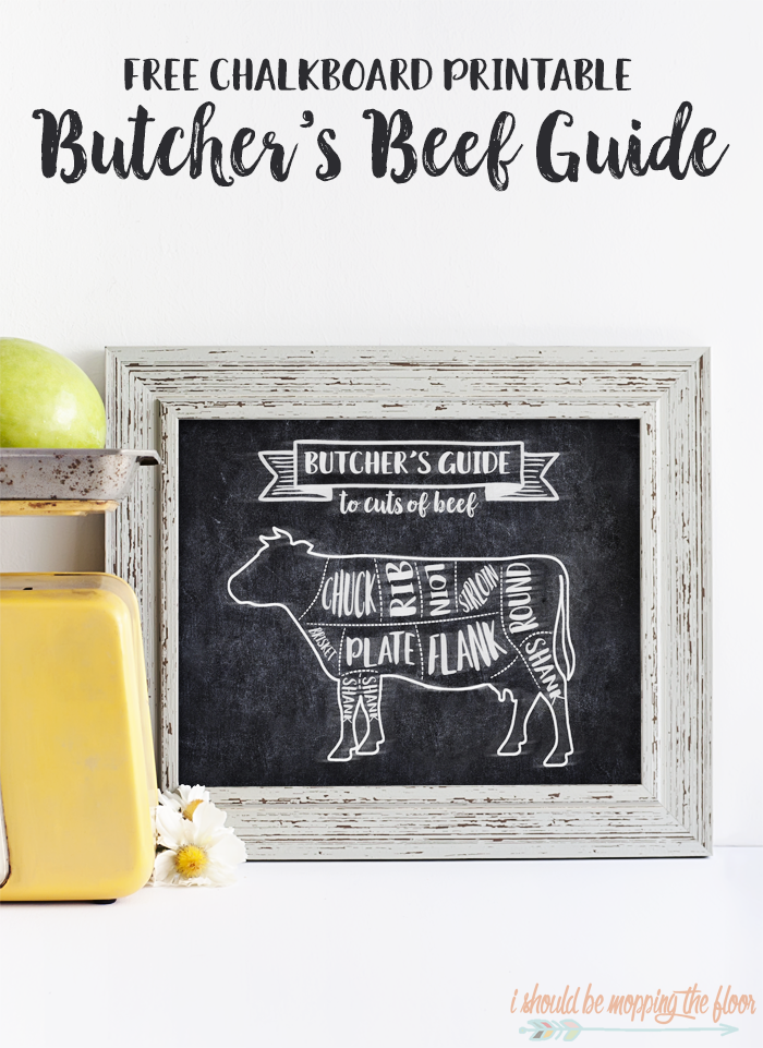 Free Butcher's Beef Cuts Printable | 8x10 Chalkboard Printable | Instant Download