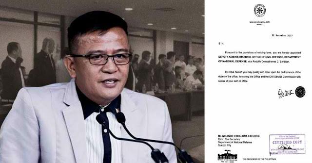 Nicanor Faeldon itinalaga ni duterte bilang bagong Deputy Administrator ng Civil Defense.