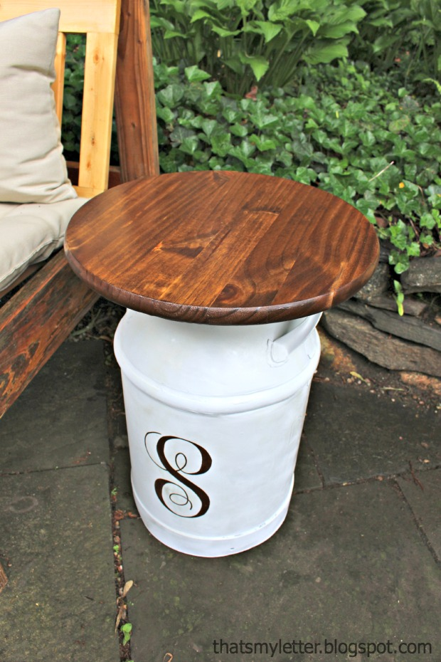 monogrammed vintage milk jug side table