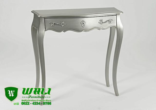 Meja Konsol Modern Minimalis Murah Kayu Mahoni Jepara Warna Silver