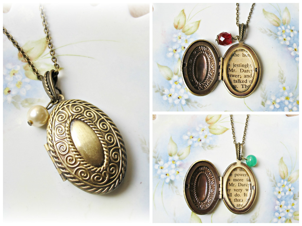 image mr darcy locket necklace brass oval pride and prejudice jane austen glass pearl ivory cream red green vintage bead
