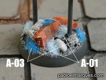 Peana con césped azul. ref: A-01 y A-03