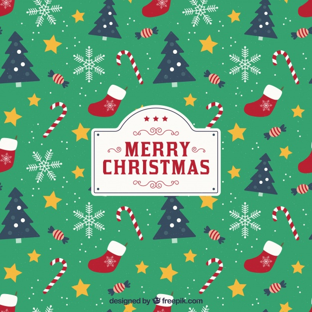 Christmas background with pattern style Free Vector