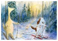 Postcard illustration of Hulmu Hukka and Haukku Spaniel skiing in a winter morning