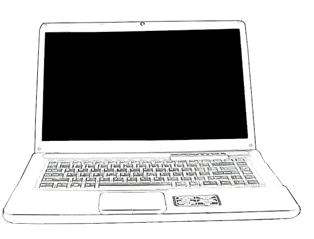 sketch of laptop against a white background
