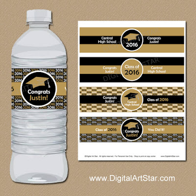 Black and gold printable 2016 graduation water bottle labels