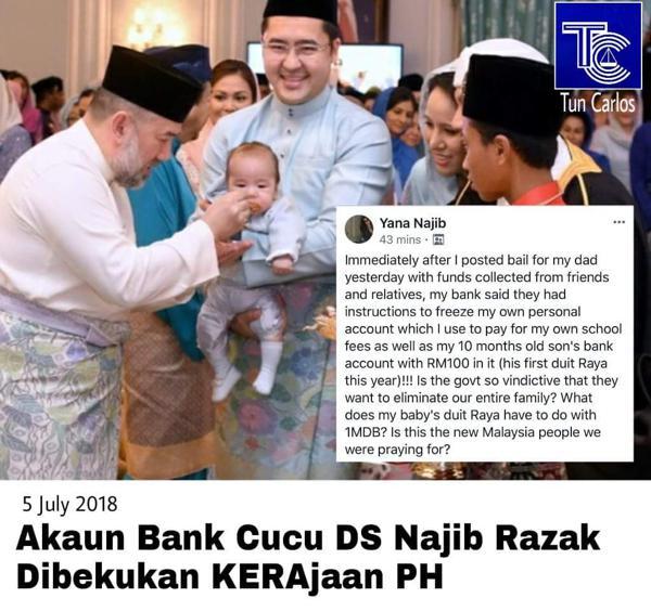 Akaun bank cucu DS Najib berumur 10 bulan dibekukan kerajaan tomato
