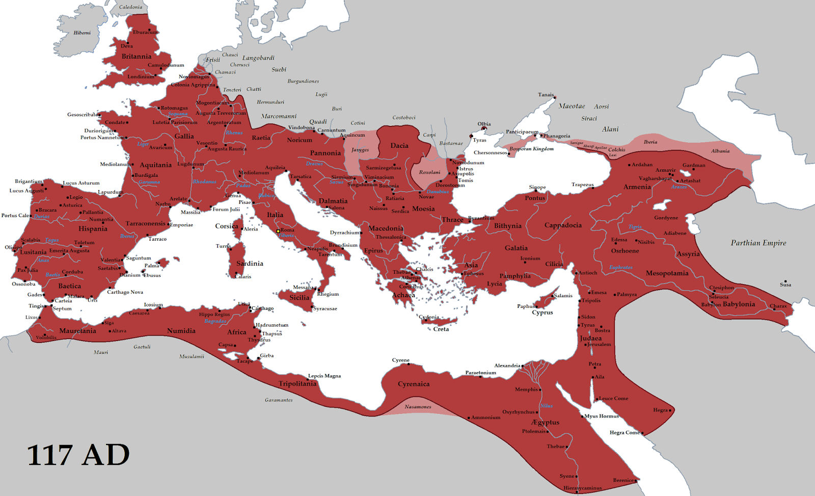 Roman Empire at its height (117 AD)