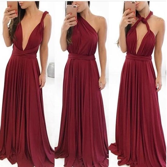 vestido de festa multiformas marsala