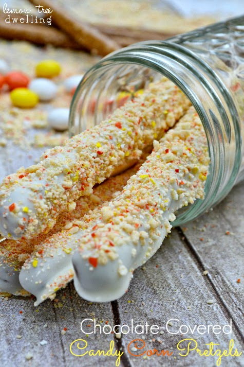 Chocolate Covered Candy Corn Pretzels by Lemon Tree Dwelling