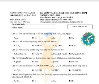 Đề thi thử môn hóa - sở giáo dục và đào tạo Hà Nội 2018