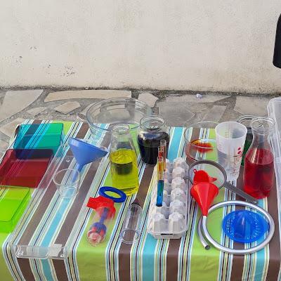 atelier laboratoire eau colorant jeu été extérieur enfants maternelle