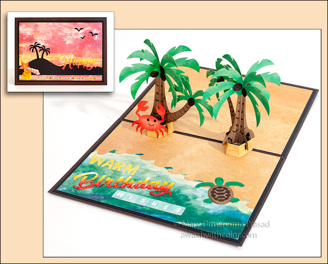 Xyron & Paper House Birthday Card, Karen Burniston Palm Tree Pop-up