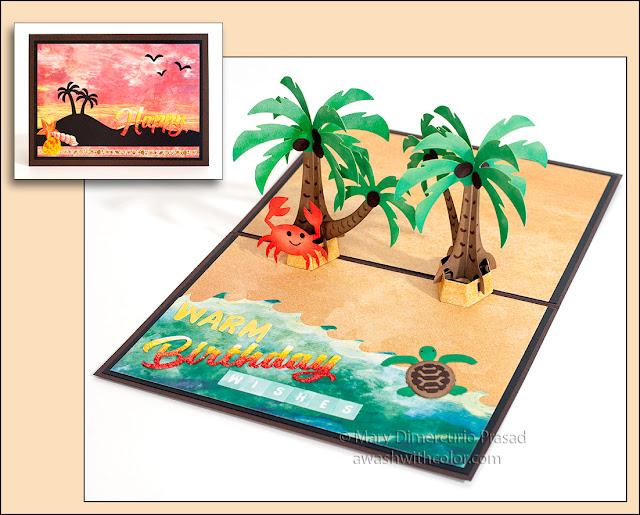 Xyron & Paper House Birthday Card, Karen Burniston Palm Tree Pop-up