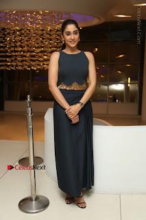 Actress Regina Candra Stills in Beautiful Blue Long Dress at Nagaram Success Meet  0192.JPG