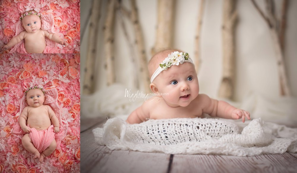 3 Month Milestone Baby Girl Studio Photos in lavender | DeKalb, Sycamore, Geneva Newborn Photographer