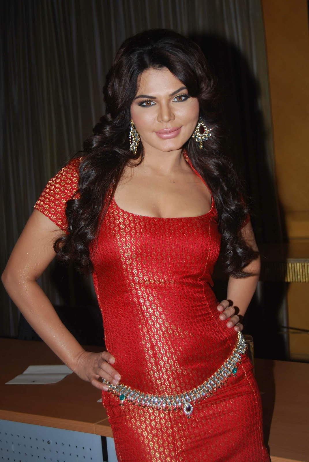 Actress Rakhi Sawant Hot In Red Dress  Hot Actress Picx-1669