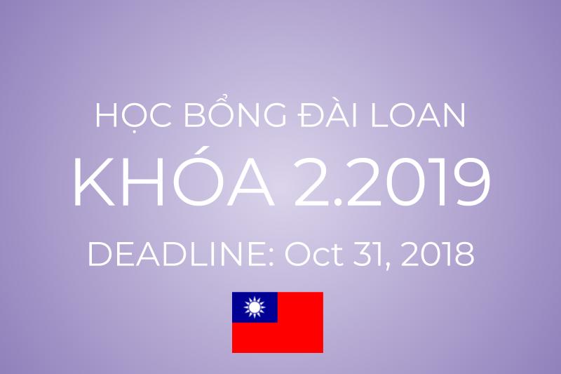 Học bổng Đài Loan khóa tháng 2/2019