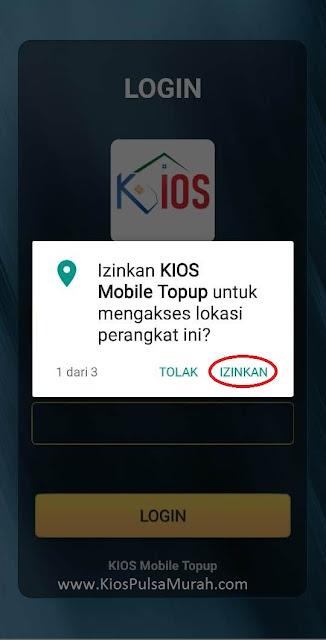 Izinkan Aplikasi KIOS Mobile Topup mengakses lokasi perangkat