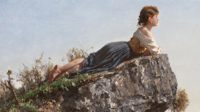Filippo Palizzi | Girl on the rock in Sorrento, 1871 | Tutt'Art ...