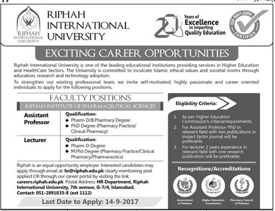 Jobs In Riphah International University Islamabad Sep 2017
