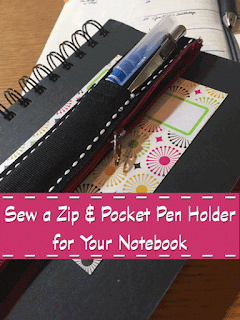 Sew a Zip & Pocket Pen Holder for Your Notebook